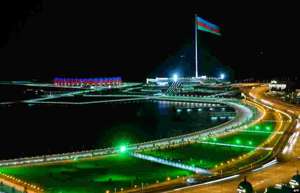 A huge flagpole with the Azerbaijani flag rises in Baku, the capital of Azerbaijan. Azerbaijan celebrated the 22nd anniversary of the nation's independence which was gained after the collapse of the Soviet Union.