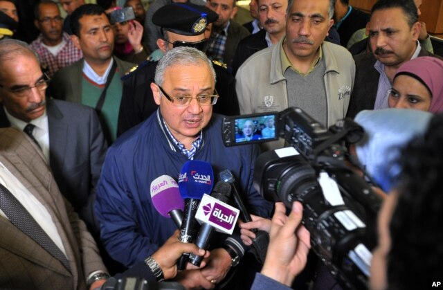 Egyptian Minister of Tourism Hisham Zaazoua talks to journalists at the four-star Bella Vista Hotel, the scene of an knife attack Friday that injured three tourists, in the Red Sea resort of Hurghada, Egypt, Jan. 9, 2016.