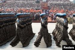 2019年10月1日中国维和部队纪念中华人民共和国成立70周年游行经过天安门广场。