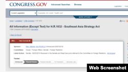Quốc hội Hoa Kỳ cập nhật tiến độ của Dự luật Southeast Asia Strategy Act. Photo Congress