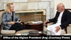 Alice Wells meets President Ghani in Kabul. (File)