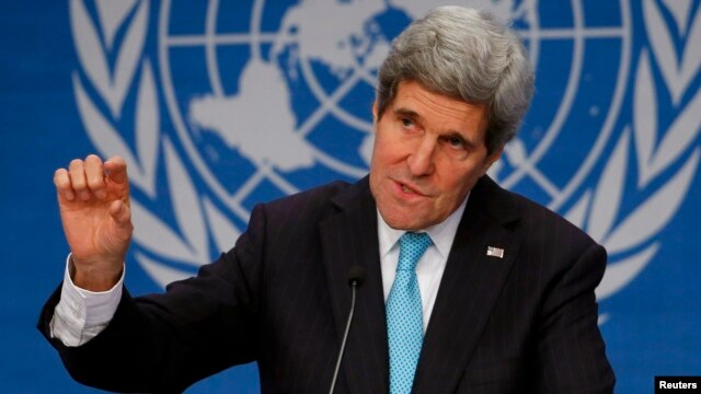 US Secretary of State John Kerry at a news conference at the Geneva-2 talks in Montreux, Jan. 22, 2014.