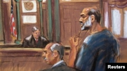 FILE- An artist sketch shows Suleiman Abu Ghaith, a militant who appeared in videos as a spokesman for al-Qaida after the September 11, 2001 attacks, appearing at the U.S. District Court in Manhattan, March 8, 2013.