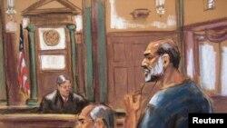 طرحی از سلیمان بوغیث، داماد اسامه بن لادن و سخنگوی القاعده در زمان حملات یازدهم سپتامبر که هشتم مارس ۲۰۱۳ در دادگاه حاضر شد.