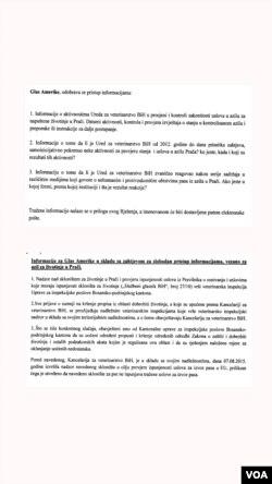 Odgovori Ureda za veterinarstvo BiH