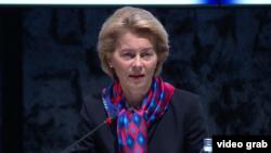 Predsednica Evropske komisije Ursula fon der Lajen tokom posete Hrvatskoj, na početku predsedavanja te zemlje Evropskoj uniji, u Zagrebu, Hrvatska, 10. januara 2020.