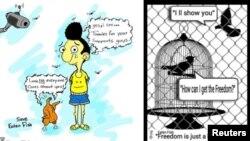 رویترز این دو کاریکاتور را از علی منتشر کرده است.