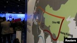"""中國""""一帶一路""""倡議圖。"""