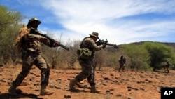 Des hommes simulent la capture de braconniers dans un parc naturel de l'Afrique du sud, le 8 novembre 2013.