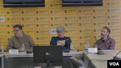 Konferencija Biroa za društvena istraživanja na kojoj su predstavljeni rezultati praćenja centralnih informativnih emisija na televizijama sa nacionalnom frekvencijom, u Medija centru u Beogradu, 26. februara 2020.