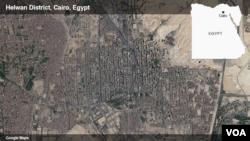 Peta distrik Helwan di Kairo, Mesir.