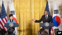 نشست خبری مشترک باراک اوباما رئیس جمهوری آمریکا و پارک گئون هی رئیس حمهوری کره حنوبی در کاخ سفید - ۲۴ مهر ۱۳۹۴