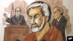 In this courtroom sketch from Jan. 6, 2010, businessman Tahawwur Rana, center, appears before Judge Matthew Kennelly in Chicago federal court.