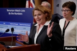 Senator Heidi Heitkamp, a North Dakota Democrat, speaks at a news conference with fellow senators on Capitol Hill, June 21, 2016. The senators were unveiling a compromise proposal on gun control.