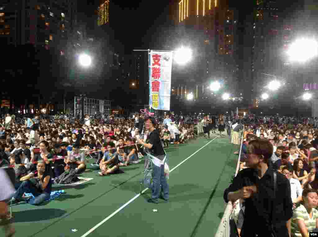 Tens of thousands of people attend a candlelight vigil for the 26th Tiananmen Square anniversary at Victoria Park in Hong Kong, June 4, 2015.