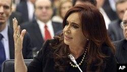 14일 유엔에서 자국의 포클랜드 섬 영유권을 피력하는 크리스티나 페르난데스 아르헨티나 대통령.