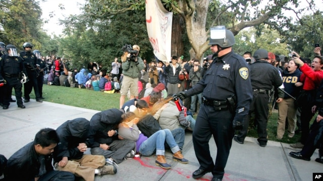 "A University of California Davis police officer pepper sprays students during  ""Occupy UCD"" demonstration in Davis, California, November 18, 2011. (Reuters)"