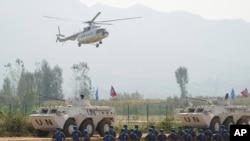"Pasukan PBB dari Mongolia ikut serta dalam latihan ""Shared Destiny 2021"" di pangkalan pelatihan Operasi Penjaga Perdamaian Queshan di Kabupaten Queshan, provinsi Henan, China tengah, Rabu, 15 September 2021."