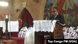 Le professeur Isidore Ndaywel du Comité laïc de coordination, Kinshasa, RDC, 16 mars 2018. (VOA/Top Congo FM)