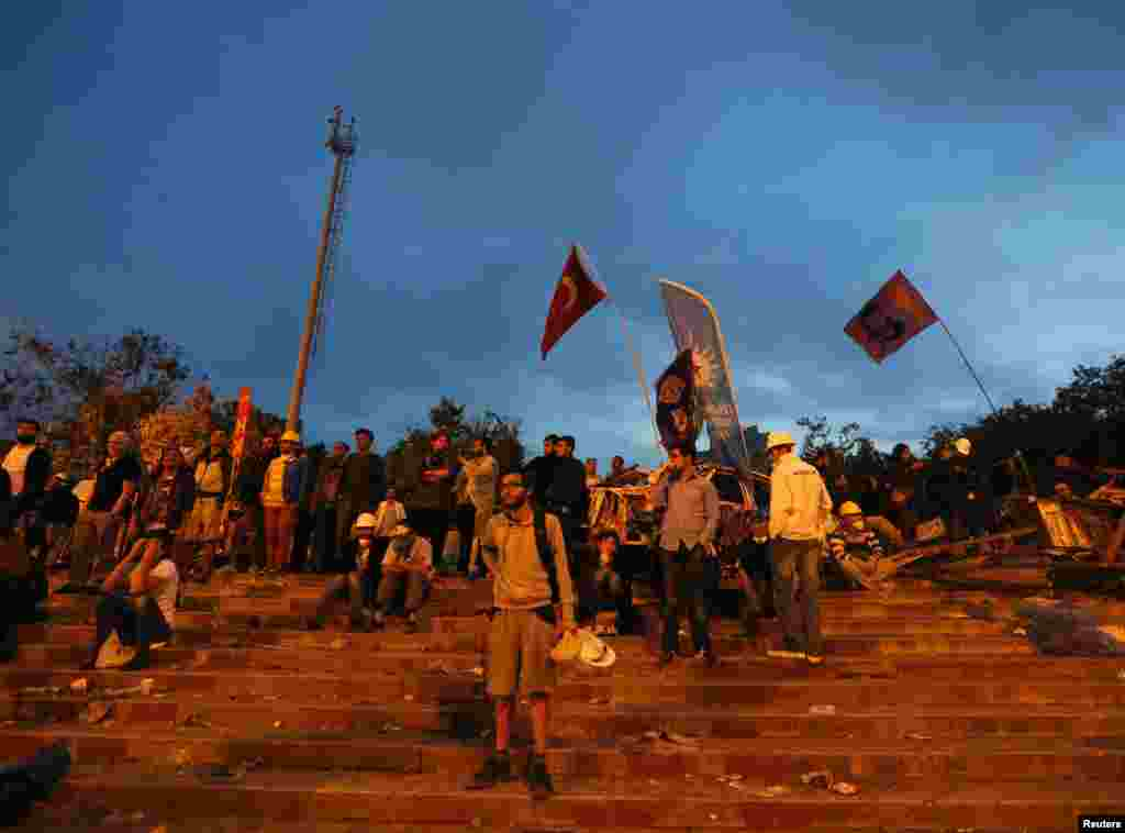 Protesters stand in front of a barricade at Gezi park, Istanbul, June 13, 2013.