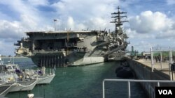 지난 21일 미국의 핵추진 항공모함 로널드 레이건호가 부산 해군 기지에 입항했다.