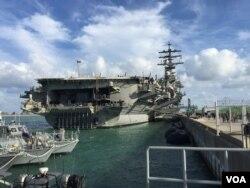 미 핵추진 항공모함 로널드 레이건호가 지난 21일 부산항에 입항했다.