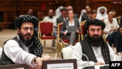 دوحہ مذکرات میں شریک طالبان وفد، فائل فوٹو