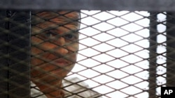 Al Jazeera journalist Peter Greste looks out from the defendant's cage during a sentencing hearing in a courtroom in Cairo, Egypt, June 23, 2014.