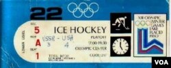 "A ticket stub from the ""Miracle on Ice"" with a hand-written final score, February 22, 1980.(S. Springer/VOA)"