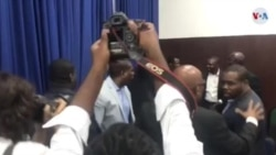 Haiti lawmakers scuffle on the parliament floor, Sept 3, 2019 in Port-au-Prince, Haiti