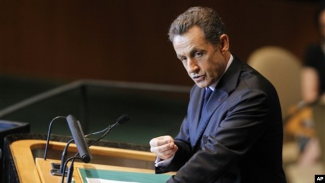 French President Nicolas Sarkozy, addresses the 66th session of the United Nations General Assembly at U.N. headquarters Sept. 21, 2011.