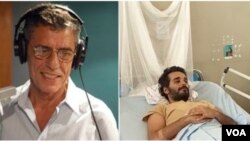 Chico Buarque, cantor brasileiro, à esq. e Luaty Beirão, activista angolano em greve de fome