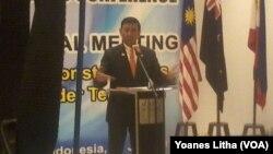 Menkopolhukam Wiranto dalam konferensi pers setelah pertemuan Sub Regional Meeting 6 negara di Manado (29/7).