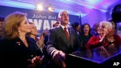 2015年11月21日路易斯安那州州长当选人约翰.贝尔.爱德华兹在新奥尔良对支持者发表讲话。