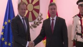 Presidenti i KE-së viziton Shkupin