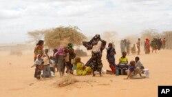 Arrivée de nouveaux réfugiés somaliens devant un centre de traitement du HCR au camp de réfugiés d'Ifo à l'extérieur de Dadaab, dans l'est du Kenya le 5 août 2011.