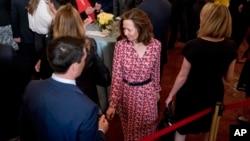 La directora interina de la CIA, Gina Haspel, asistió a la ceremonia de toma de posesión del Mike Pompeo, como secrertario de Estado, en el Departamento de Estado en Washington, el 2 de mayo, de 2018.