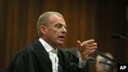 State prosecutor Gerrie Nel, questions Oscar Pistorius in court in Pretoria, South Africa, Apr. 15, 2014.