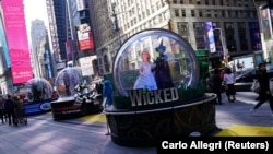 FILE- A display for the Broadway show 'Wicked', November 6, 2019. (REUTERS/Carlo Allegri/File Photo)