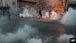 Bahraini anti-government protesters in Bilad al-Qadeem, Bahrain, June 2, 2013