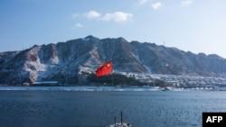 从中国边境城市丹东一侧看到的分隔中国和朝鲜的鸭绿江。(2018年1月10日)
