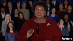 Former Georgia gubernatorial candidate Stacey Abrams delivers the Democratic response to the U.S. President Donald Trump's State of the Union address in this still frame taken from video, in Washington, Feb. 5, 2019.
