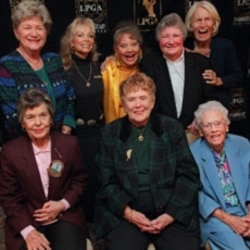 Betty Jameson, top right, poses with seven founders of the LPGA