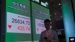 2018年12月5日星期三,一名男子走过香港股票指数电子板。
