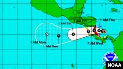 El miércoles por la maña, la tormenta tenía vientos máximos sostenidos de 110 kilómetros por hora y se movía hacia el oeste a 7 kilómetros por hora.