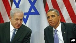 U.S. President Barack Obama (R) meets Israel's Prime Minister Benjamin Netanyahu at the United Nations in New York, September 21, 2011.