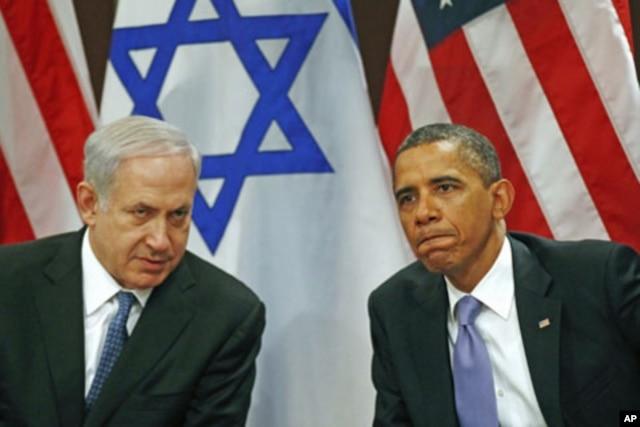 FILE - U.S. President Barack Obama (R) meets Israel's Prime Minister Benjamin Netanyahu at the United Nations in New York, Sept. 21, 2011.