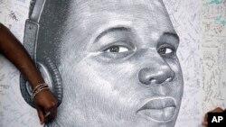 En la imagen, un dibujo del joven Michael Brown.