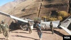 محل سقوط طیارۀ اردوی ملی در درۀ فولادی بامیان