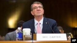 Menhan AS, Ashton Carter memberikan keterangan di Gedung Capitol, Washington, DC hari Rabu (9/12).
